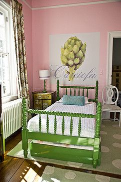 Love this bedroom, antique bed, chenille bedspread, pale pink walls ~ very quaint!