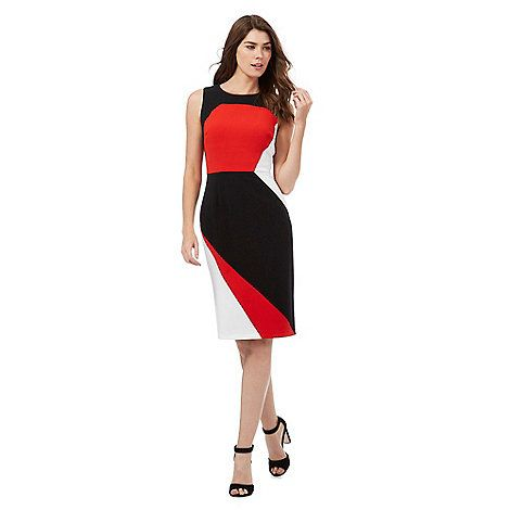 The Collection Red colour block fitted dress | Debenhams