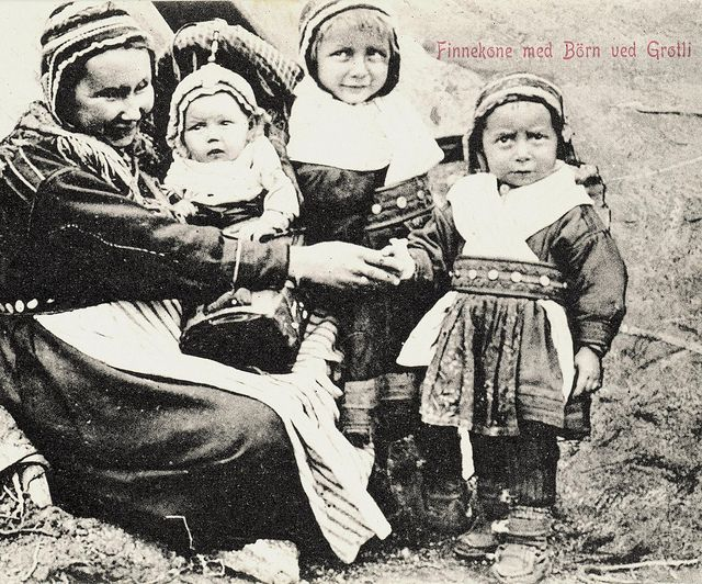 Sami mother and children  - Grotli, Oppland, Norway