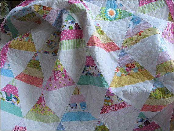 Triangle scrap quilt