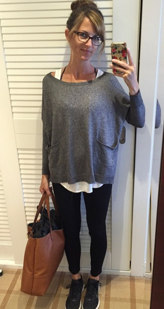 what i wore – what to wear on the plane: grey sweater, white tank, black leggings/ponte pants, black athletic shoes