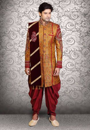 Orange Art Silk Brocade Readymade Sherwani