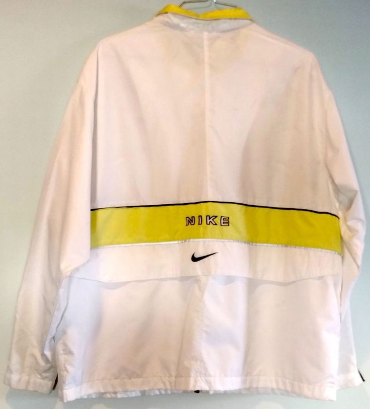 """Vintage NIKE Womens Windbreaker Jacket Yellow White Sz L-XL Zip 46""""   Clothing, Shoes & Accessories, Women's Clothing, Athletic Apparel   eBay!"""