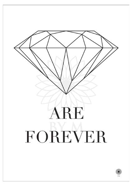 DIAMOND ARE FOREVER: White background with black text.     Mål: 50 x 70 cm/DKK465      All prints are delivered in non-bleached paper tubes with a sticker on each, showing which print is inside along with specified dimensions.All prints are printed locally, on UV-resistant, FSC-certified paper.