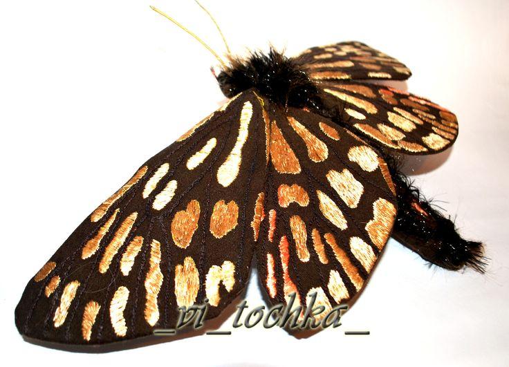 Borearctia Menetriesii, butterfly, embroidery, sculpture, fiber-art, hand made:
