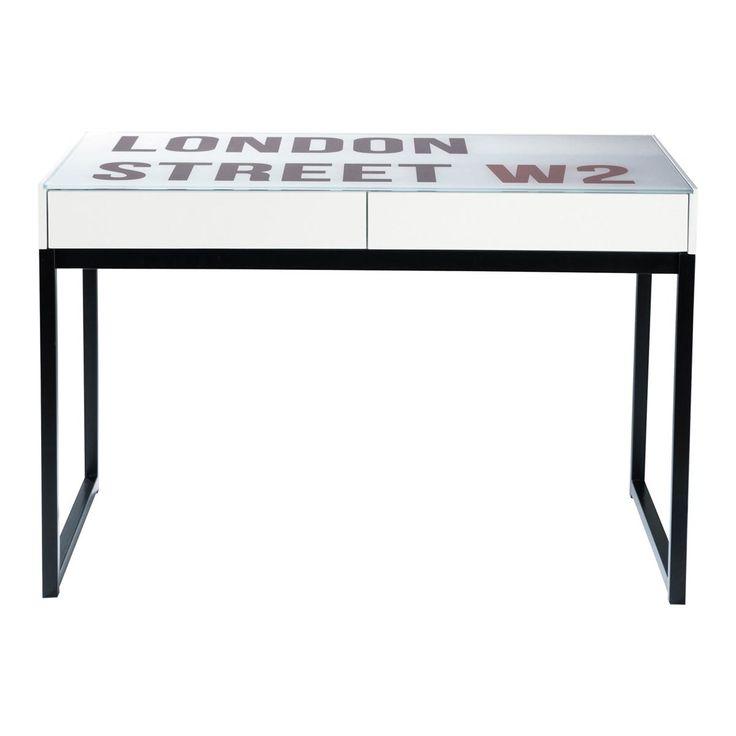Scrivania bianca stampata stile industriale in vetro e legno L 120 cm Street