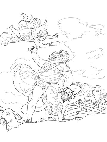 Abraham Sacrificing Isaac coloring page from Abraham