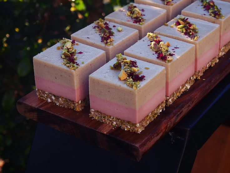 Vanilla Rose + Pistachio glitter base pink and cream beautiful cheese cakes | To pretty to eat | elegant party food
