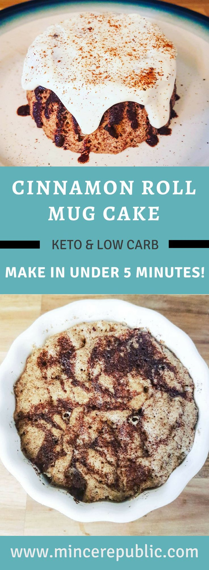 Cinnamon Roll Mug Cake Recipe | Made in under 5 minutes! #lowcarb #ketodesserts | mincerepublic.com