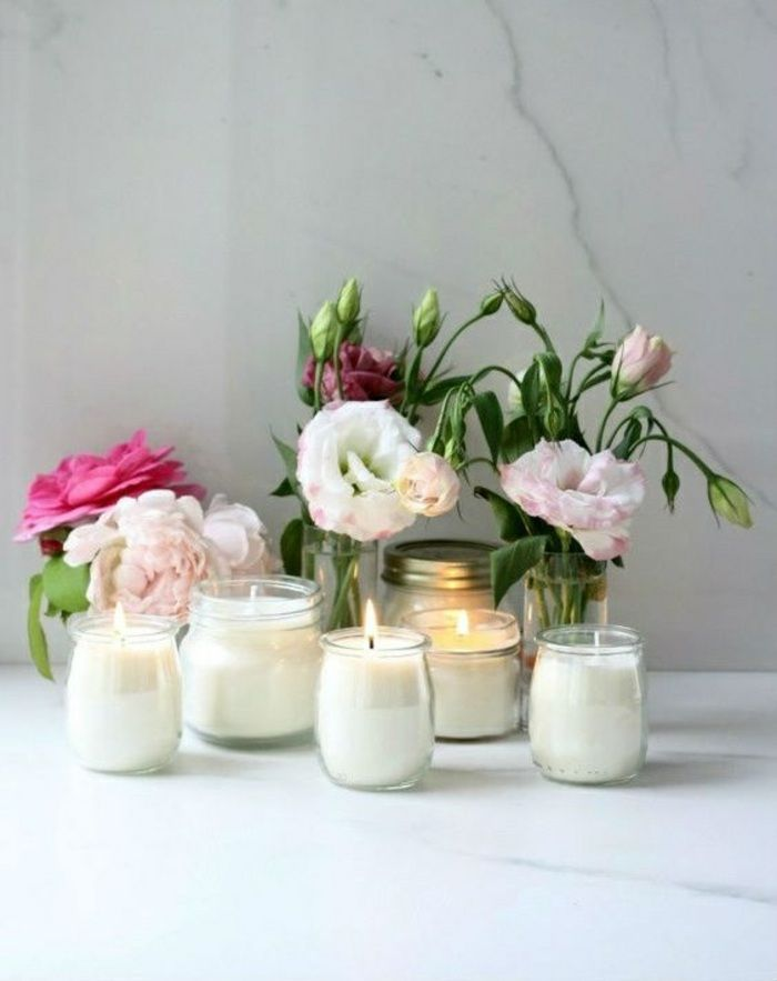 Kerzen Selber Machen Weisse Kerze Behalter Aus Glas Blumen