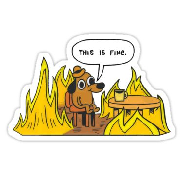 A picture with the this is fine meme comic with a