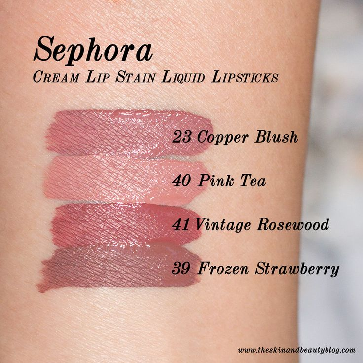 Sephora Cream Lip Stain Lipsticks in Copper Blush, Pink Tea, Vintage Rosewood and Frozen Strawberry Swatches NC30