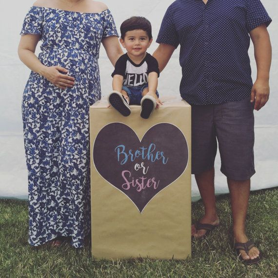 Brother or sister gender reveal balloon box heart