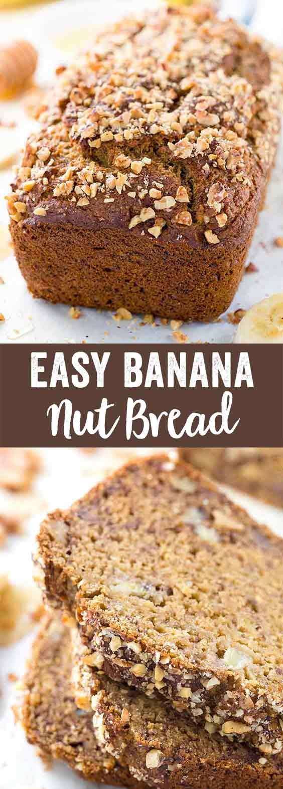 Whole Wheat Banana Nut Bread - A healthy quick bread recipe made with wholesome ingredients like chopped walnuts, applesauce, coconut oil, and honey. via @foodiegavin