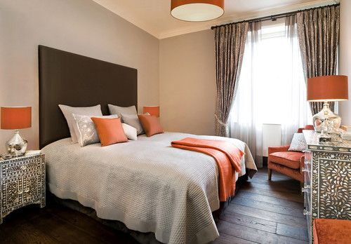 Spaces Brown And Grey Master Bedroom Design, Pictures, Remodel, Decor and Ideas - page 8 - pop of orange?