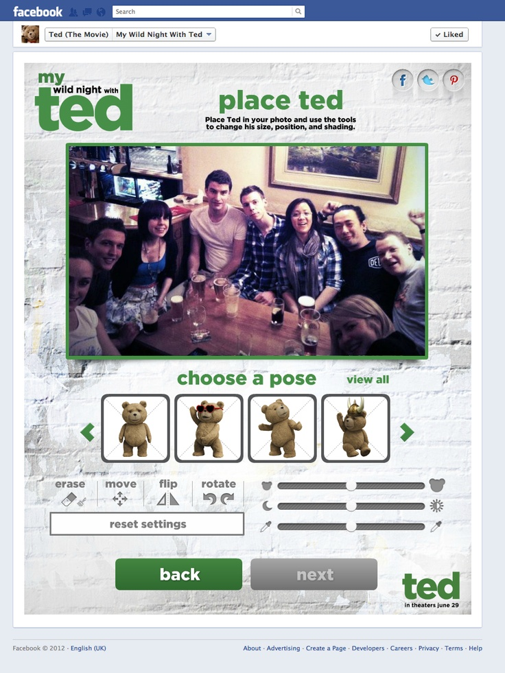 Ted the movie facebook app