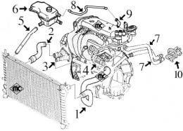 Circuit de refroidissement FIESTA 1.4 moteur essence ZETEC-16v - Alpazo - Pièces détachées automobile