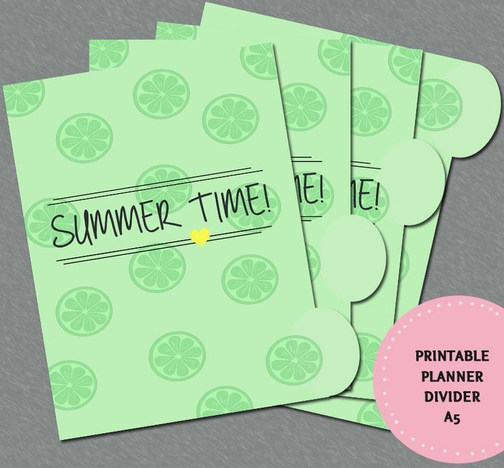 PRINTABLE Planner Divider - A5 Summer Theme by CuteCoconutShop on Etsy