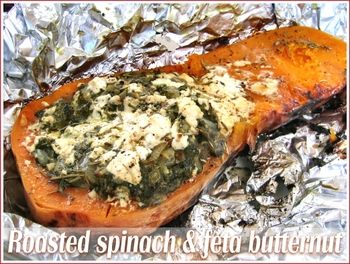 Roasted butternut squash filled with spinach and feta. Great idea for the BBQ!