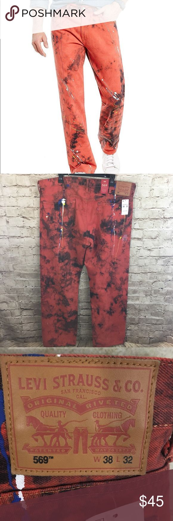 """NWT Levi's 569 Jeans Loose Straight Orange Paint Levi's Men's 569 Loose Straight Fit Relaxed Jeans   Color: Orange with Paint Splatter Size: 38x32 Leg Opening: 8.75""""  New with tags attached!  Retails at $69.50! Buy here at a fraction of the original price. Levi's Jeans Straight"""