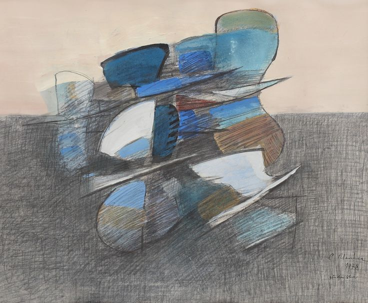 LOT 17 CONSTANTIN BLENDEA Wings [1978] Tempera, pencil and charcoal on paper 44.5 × 61 cm (17.5 × 24 inch) Estimate €300 - €500 Starting price €280  http://lavacow.com/current-auctions/lavacow-autumn-auction/wings.html
