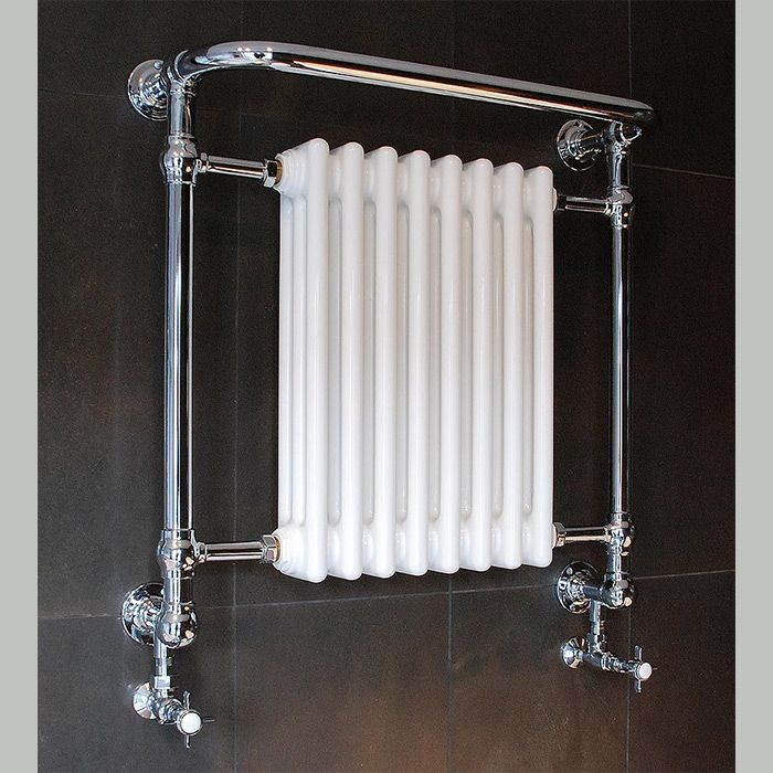 The Wilton Heated Towel Rail.   The Wilton bathroom radiator range is hand-made from DZR brass in the UK. This traditional wall mounted heated towel rail has been designed with 3 cross bars and a small column rad.  Our heated towel rails are predominantly designed for bathroom fitting.  The towel warmer is hand crafted from DZR brass in 32mm diameter tubing and solid brass fittings. Polished by hand to achieve a high quality durable finish.