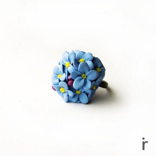 Niebieski Pierścionek z Kwiatuszkami
