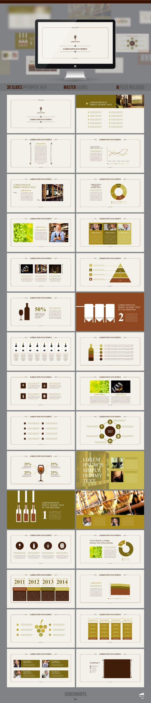 PowerPoint Template #powerpoint #powerpointtemplate #presentation Download: http://graphicriver.net/item/presentation-of-wine/8791818?ref=ksioks: