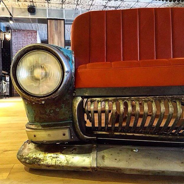 Our supercool and brutal sofa made from an old russian car. @Irinakrivtsova @tanyaredina #design #furniture #old #car #sofa #loft