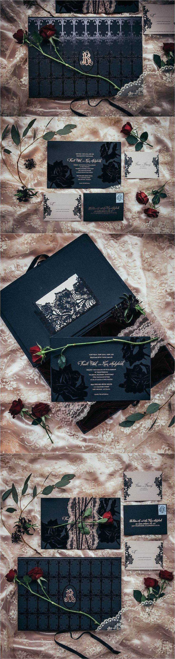 Sapphire Events | Eric James Photography | New Year's Eve Wedding | Gothic Wedding | Twilight Inspired Wedding | French Quarter Wedding | New Orleans Wedding | Pink Black Red Wedding | Lehr and Black | Boxed Invitation | Monogram