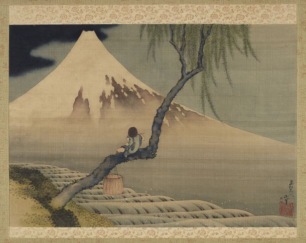 Boy Viewing Mount Fuji | Katsushika Hokusai | Japanese | Ink and color on silk |1839 | Edo period | Freer and Sackler | F1898.110