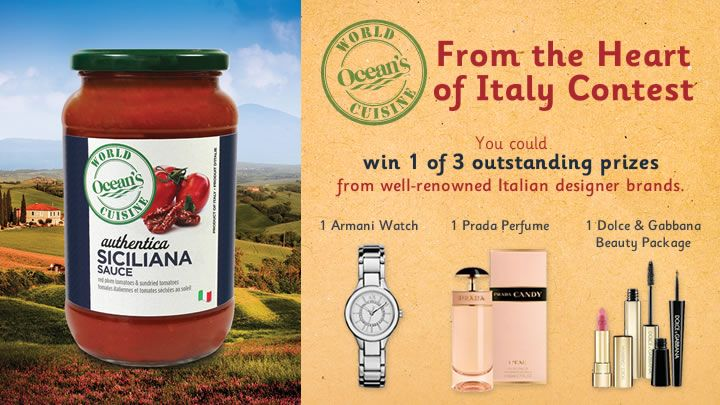 You should enter Ocean's World Cuisine - From the Heart of Italy. There are great prizes and I think one of us could win!