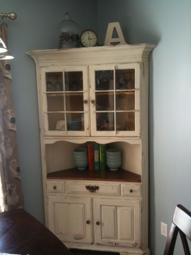 Milk paint corner china cabinet my projects pinterest for Painted dining room hutch ideas