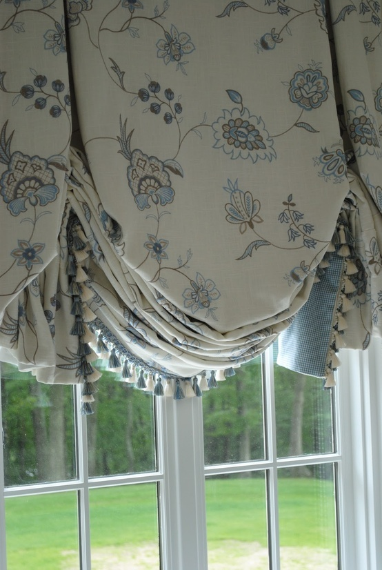 Balloon Valance Blue And White Floral Fabric With