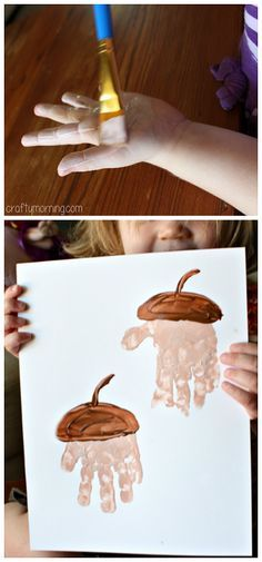 Handprint Acorn Art Project #Fall craft for kids - This was our attempt which…