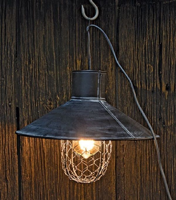 Pendant Light Fixture Metal Wire Vintage style Black Metal Chicken Wire Cover  #Unbranded #FarmhouseBarnCountryPrimitiveIndustrial