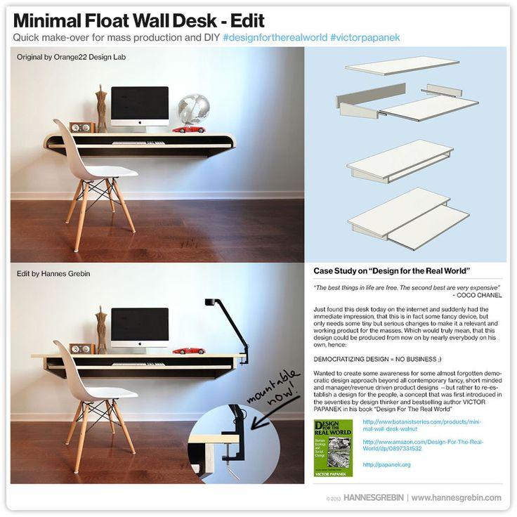 Interior Design Minimal Float Wand Schreibtisch Quick Make Over für die Massenproduktion oder D …