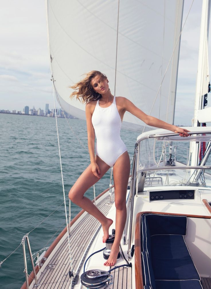 Toni Garrn goes nautical in the latest issue of The Edit by Net-A-Porter. Donning #nautical pieces with a new-season twist. #classicswimwear #onepiece