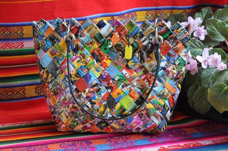 Handmade Messenger and Cross Body Magazine Clippings Bag H=6.3 W=3.74 L=6.7 #Handmade #MessengerCrossBody