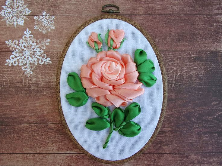 Ribbon embroidery wall hanging hoop art peach rose by