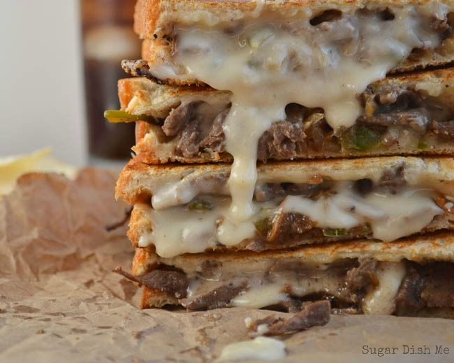 Philly Steak and Grilled Cheese - Sugar Dish Me. Substitute provolone for the cheese sauce for an easy weekend lunch.