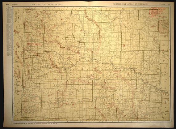 Wyoming Map EXTRA LARGE Wyoming Railroad Map Wall Art   Map Wall ...