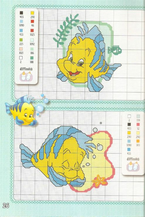 The Little Mermaid Cross Stitch Flounder