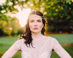 The Suzie Draped Pearl Boho Style Wedding Headpiece.