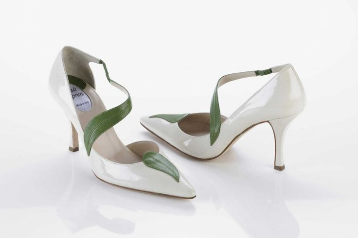 Ivory leathered pump with a centered pearled green leather leaf from Tali Koren