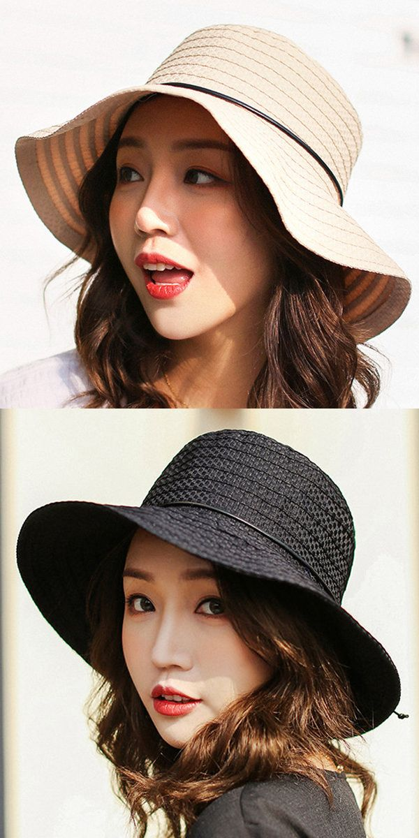 4cc7b307b05 Women s Cotton Solid Color Foldable Bucket Cap Vogue Sunshade Vacation  Seaside Fisherman Hats  hat  accessories