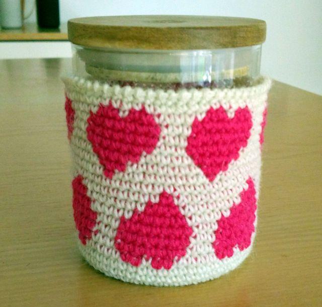 Crochet wrap for jam jar, by AM