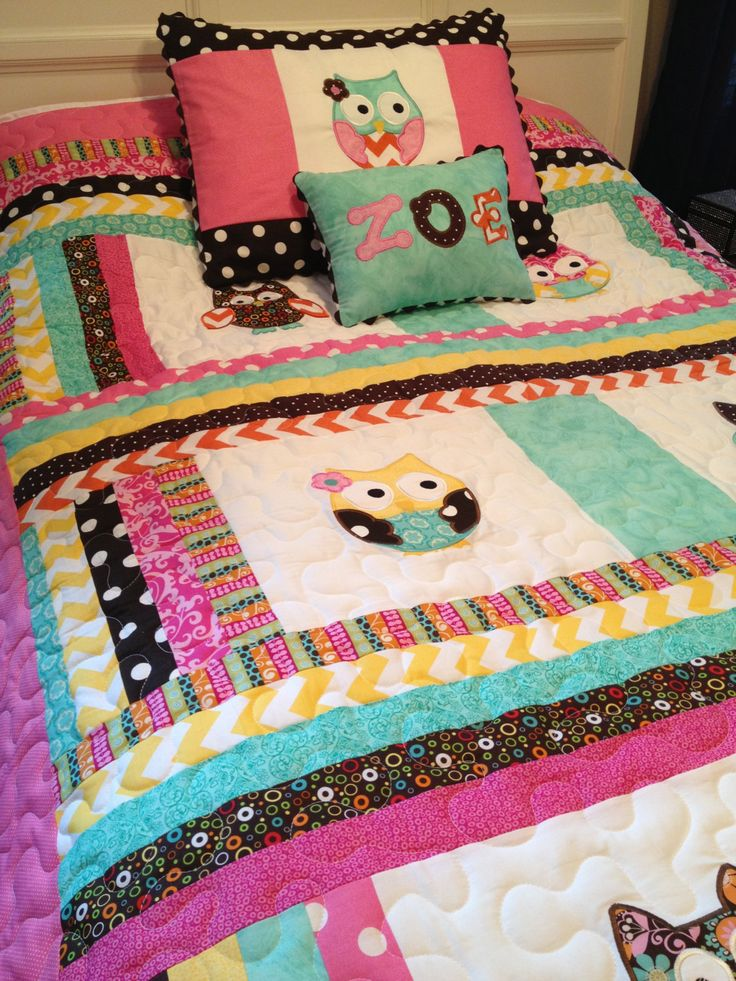 Chevron+twin+size+owl+quilt+with+matching+by+sewsosweetdesigns,+$320.00