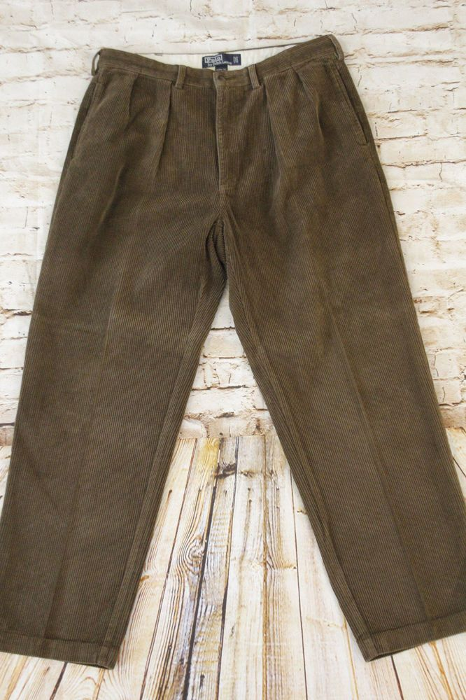 Vtg Polo Ralph Lauren Andrew Pant Mens Size 36x31 34x30 Pleated Corduroy Pants Fashion Clothing Shoes Accessories Menscl Mens Pants Pants Corduroy Pants
