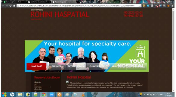 PROGRAMMING WITH C, C++ & JAVA: Create A Hospital Web Page With All The Required M...